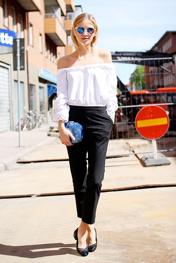 Off-The-Shoulder Top + Fitted Trousers