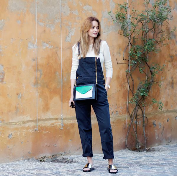 On Funda Christophersen of By Funda: H&M top; Ganni overalls; Stine Goya x H2O shoes; Celine bag.