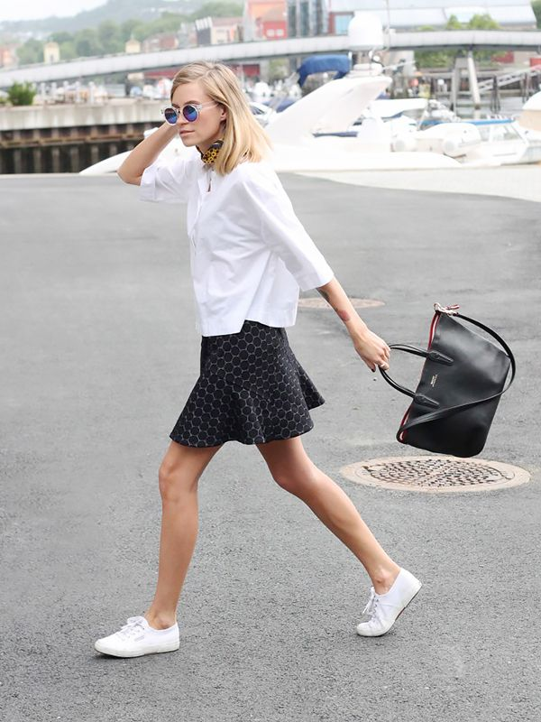 On Tine Andrea of The Fashion Eaters: Zara shirt; Marc By Marc Jacobs Leyna Dotty Fit-&-Flare Ponte Skirt ($116); Superga 2750 COTU Classic Tennis Shoes ($65) in White; Bally bag; John Hendric...
