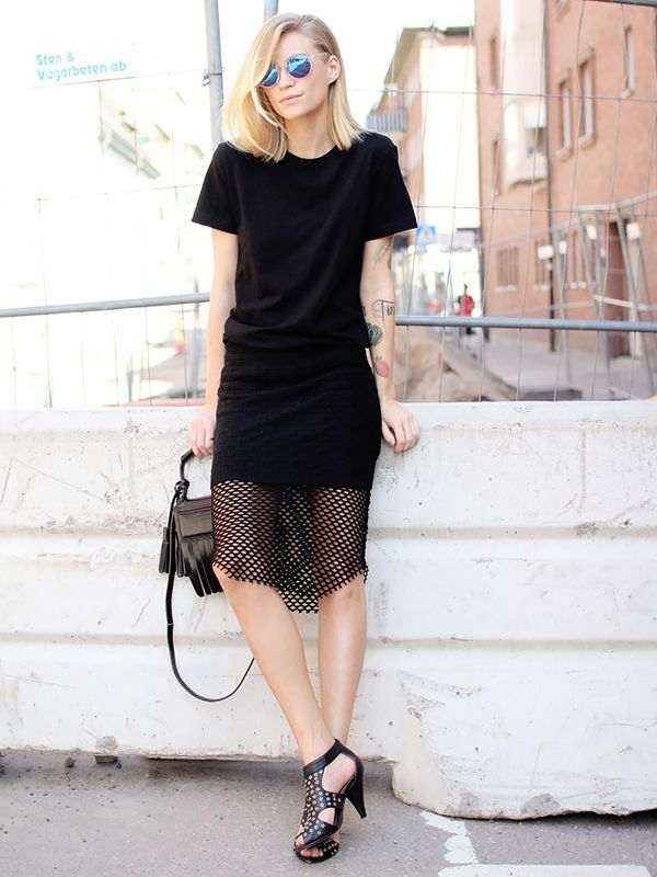 On Tine Andrea of The Fashion Eaters: H&M Basic T-shirt ($6) in Black; Isabel Marant dress; Friis&Company shoes; Acne Studios Laurie Bag ($410) in Black.