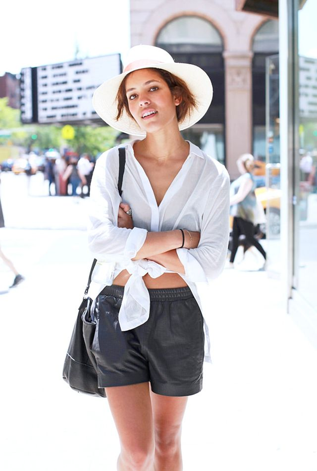 Lightweight Button-Up Shirt + Loose Leather Shorts