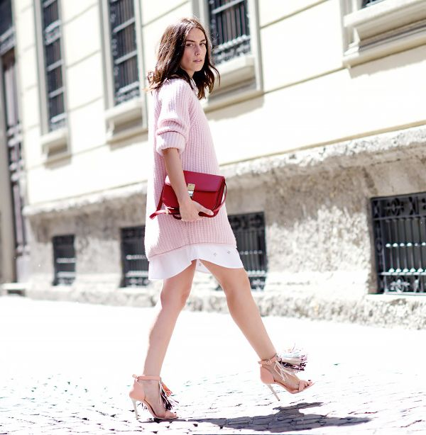 On Erika Boldrin of My Free Choice: Jo No Fui sweater; MSGM shoes; Celine bag.