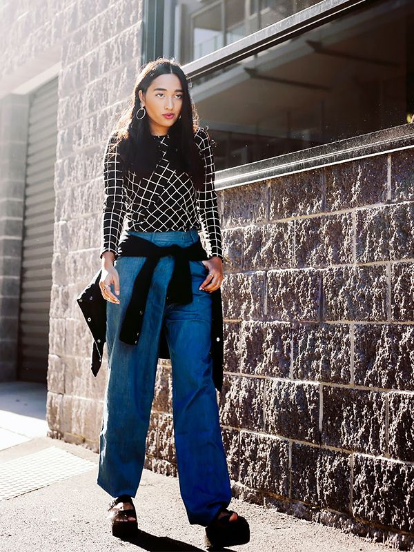On Fabliha Reza of Inside In, Inside Out: Front Row Shop Checked T-Shirt With Long Sleeves ($44) and Wide Leg Denim Trousers With Wrap Detail ($62); Windsor Smith shoes; 3.1 Phillip Lim bag;...