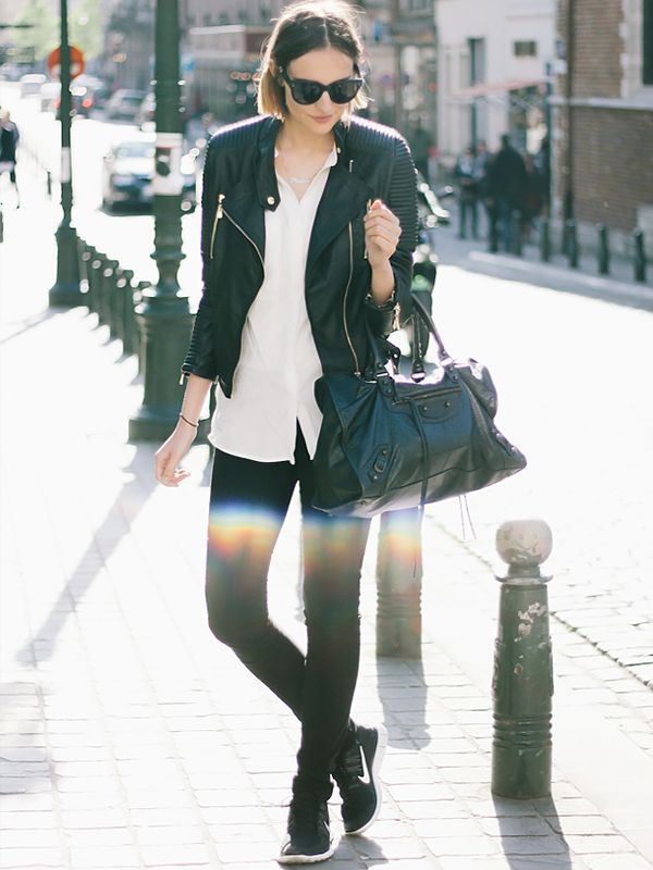 On Paulien Riemis of Polienne: Loavies The New Padded Biker Jacket ($82); H&M shirt; Diesel Skinzee Jeans ($108); Nike shoes; Balenciaga bag; Celine sunglasses.