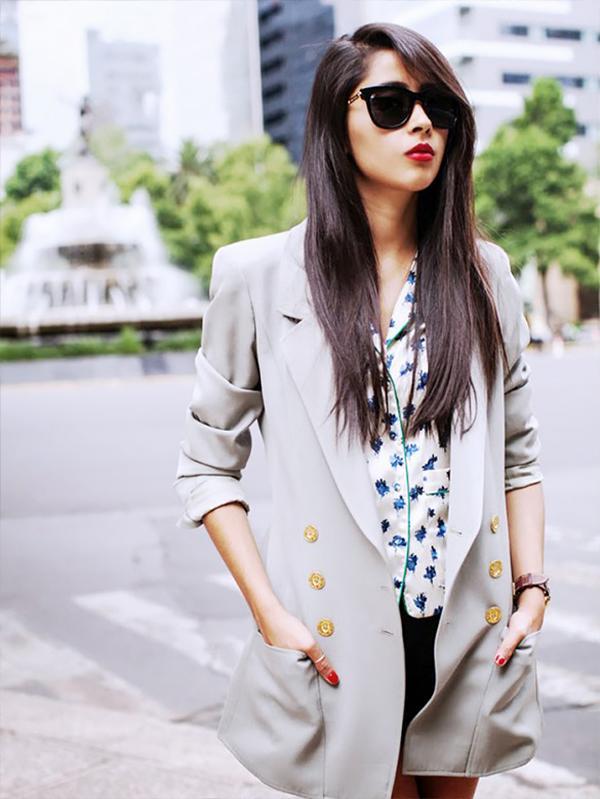 Blazer + Pajama-Inspired Blouse