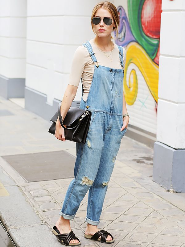 On Annabel Rosendahl of Annabel Rosendahl: Current/Elliott The Ranch Hand Overalls ($348) in Wanderer Destroy; FWSS top; Isabel Marant Holden Sandals ($510); Ray-Ban sunglasses.