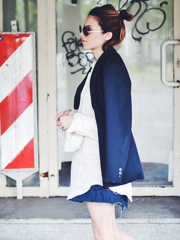 Blazer + Denim Skirt