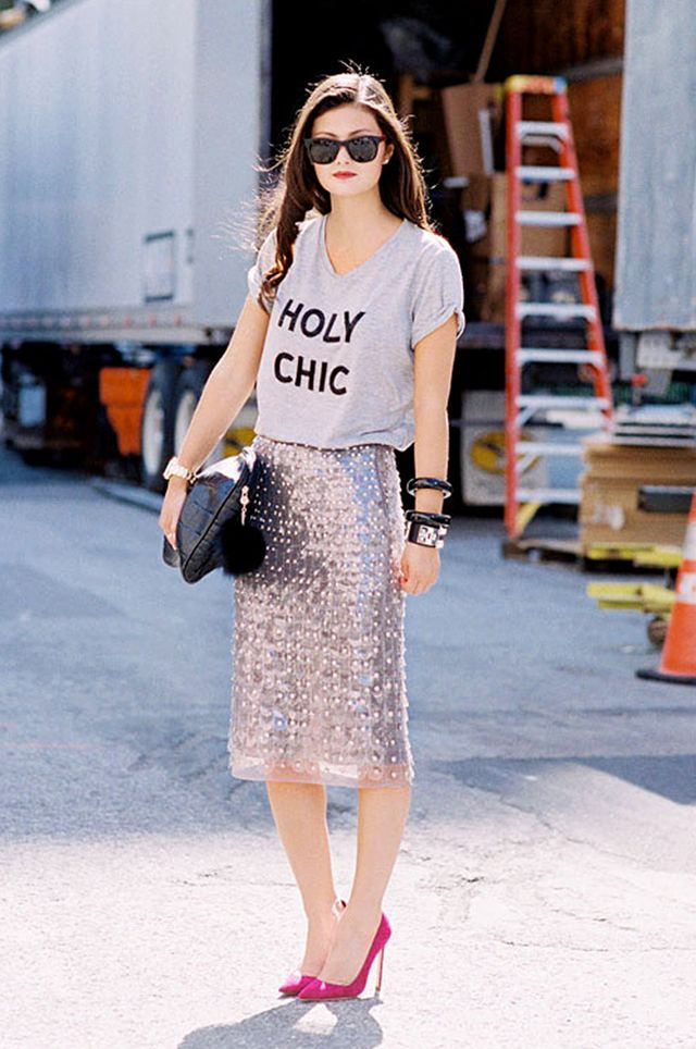 Tip 14: Try pairing a graphic tee and a glittery pencil skirt for a sartorial match made in heaven.