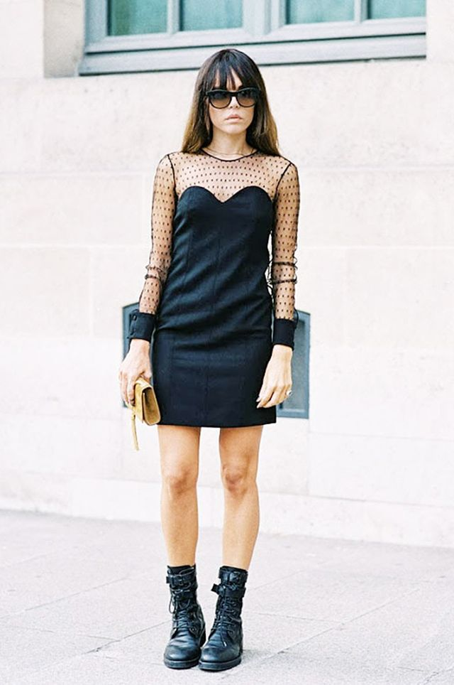 Tip 15: Carry a form-fitting LBD into the day with chunky lace-up boots.