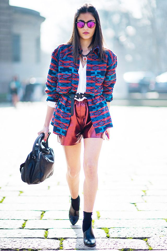 Tip 8: Give just a hint of sparkle with metallic shorts underneath a printed coat.