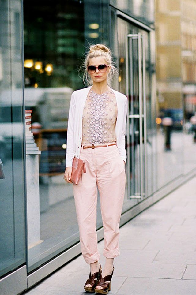Tip 12: Tuck an embellished top into pastel pants.