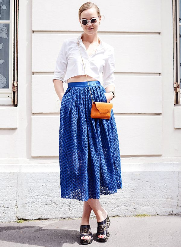 Carry it with: Full skirt + flatforms