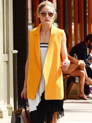 Olivia Palermo's Bright Orange Vest--Do You Love The Look?