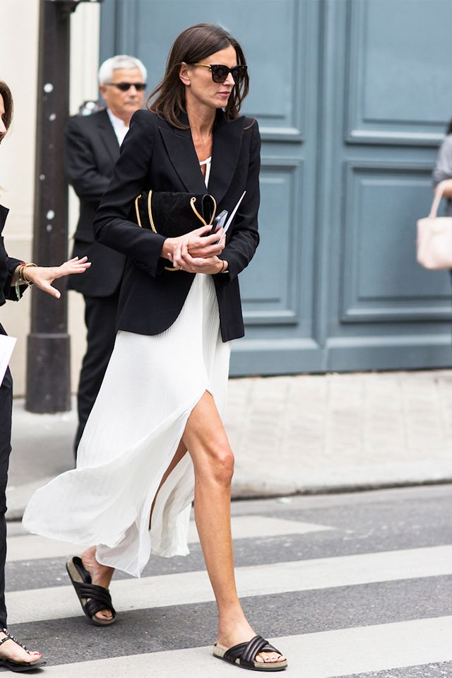 Tip: Give a casual spin to a long dress with a menswear blazer and Birkenstocks:
