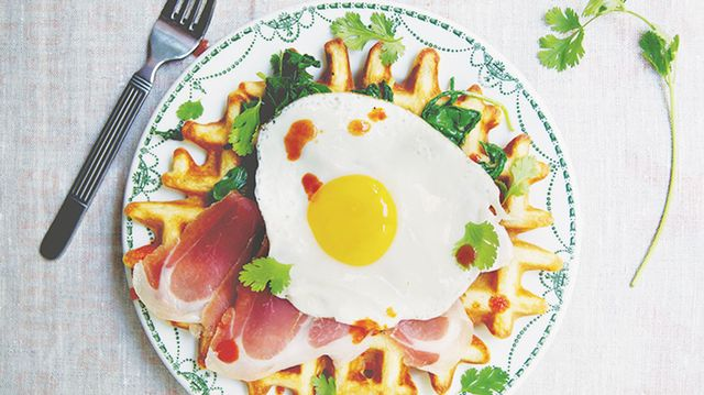 Green Chive Waffles with Prosciutto and Fried Eggs