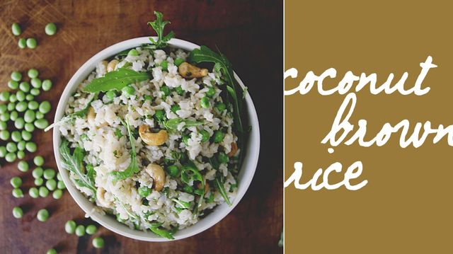 Coconut Brown Rice with Peas, Arugula, Mint, Basil, and Cashews