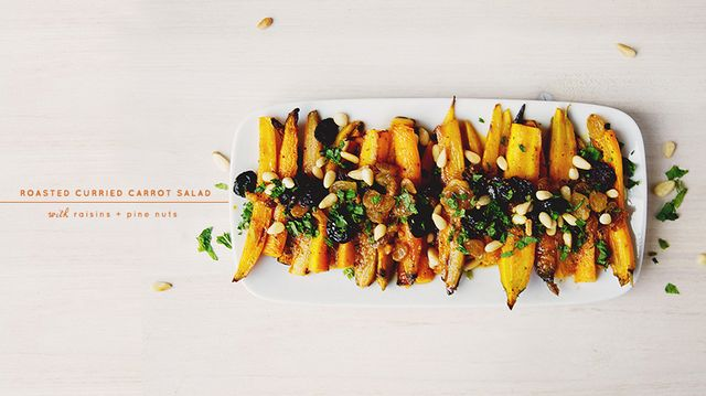Recipe of the Week: Roasted Curried Carrot Salad with Raisins and Pine Nuts
