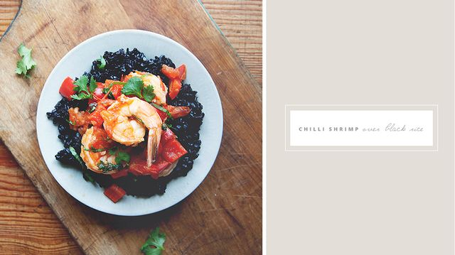 Recipe of the Week: Chilli Shrimp with Tomato, Ginger, and Cilantro Over Black Rice