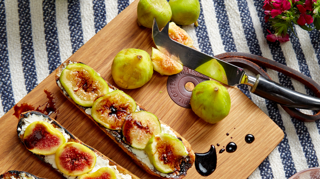 Recipe: Mission Figs, Lavender Goat Cheese and Aged Balsamic on Grilled Ficelle