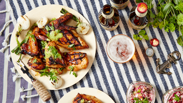 Recipe: Grilled Deviled Chicken with Orange Honey and Spring Onion Cr